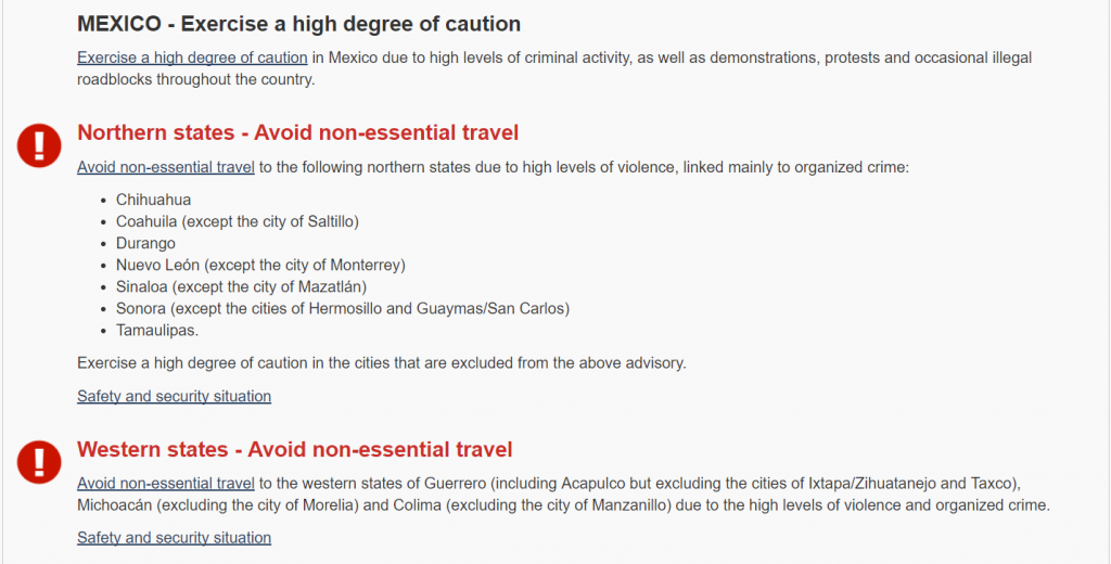 Government Of Canada Travel Advisory Mexico